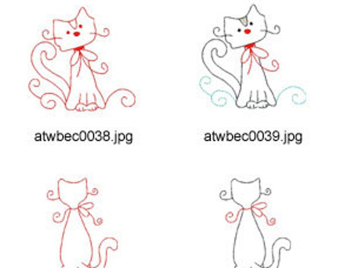 Swirly-Kitties-Redwork ( 10 Machine Embroidery Designs from ATW ) XYZ17C