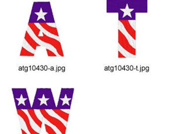 Patriotic-Alphabet ( 26 Machine Embroidery Designs from ATW ) XYZ17D