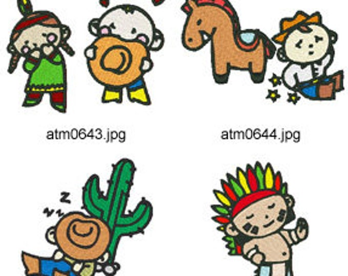 Cowboy-and-Indians  ( 10 Machine Embroidery Designs from ATW ) XYZ17I