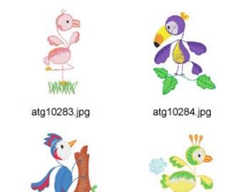 Sticky-Birds ( 10 Machine Embroidery Designs from ATW )  XYZ17F