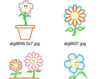 Potted-Flowers-Applique ( 11 Machine Embroidery Designs from ATW ). XYZ17D
