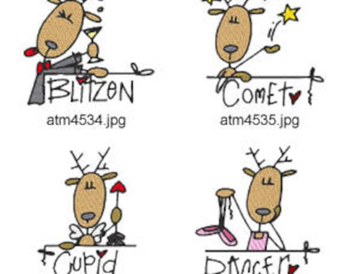 Reindeer Names  ( 9 Machine Embroidery Designs from ATW )