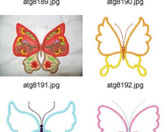 Jacobean-Applique-Butterflies  ( 7/14 Machine Embroidery Designs from ATW ) XYZ17E