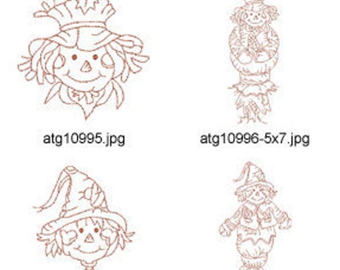Redwork-Autumn-Scarecrows ( 20 Machine Embroidery Designs from ATW ) XYZ17C