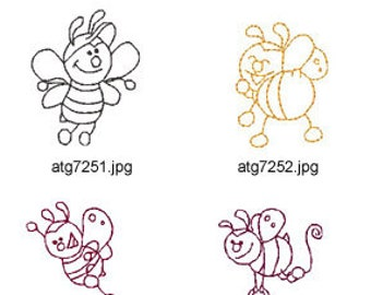 Mini-Bees-3 ( 5 Machine Embroidery Designs from ATW ) XYZ17D