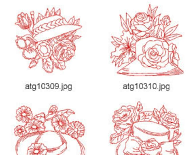 Redwork-Redhats-2 ( 5 Machine Embroidery Designs from ATW ) XYZ17E