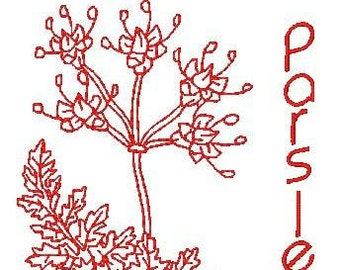 Redwork Herbs  ( 26 Machine Embroidery Designs from ATW )