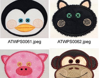 Animal-Applique-Faces ( 8 Machine Embroidery Designs from ATW ) XYZ17D