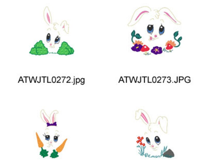 Bunny-Expressions ( 10 Machine Embroidery Designs from ATW ) XYZ17C
