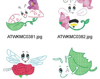 Bug-Expressions  ( 10 Machine Embroidery Designs from ATW ) XYZ17D
