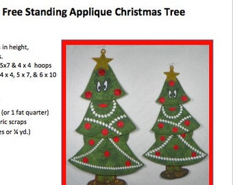 "FSA Christmas Tree Project in Two Sizes  (12"" or 15"" tall) Free-Standing Applique"