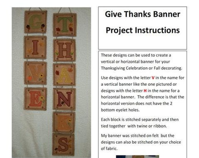 Give Thanks Banner Project   ( 20 Machine Embroidery Designs from ATW )
