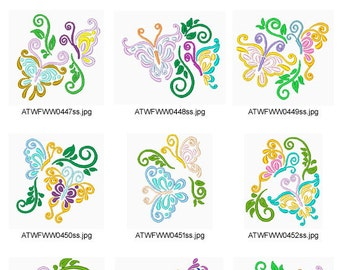 Colorful-Butterflies ( 10 Machine Embroidery Designs from ATW ) XYZ17B