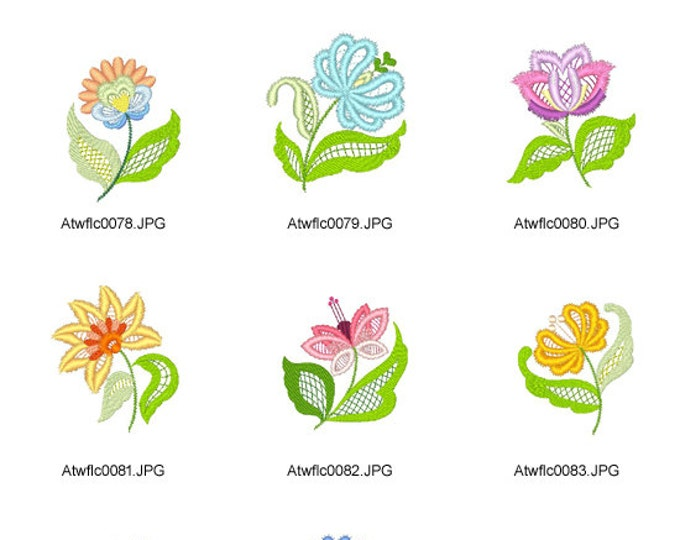 Jacobean-Lace-Flowers. ( 10 Machine Embroidery Designs from ATW )