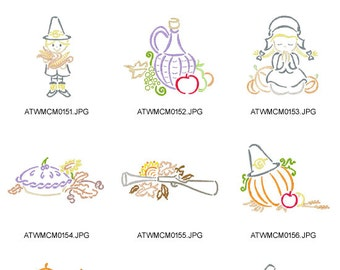 Outline-thanksgiving ( 10 Machine Embroidery Designs from ATW ) XYZ17B