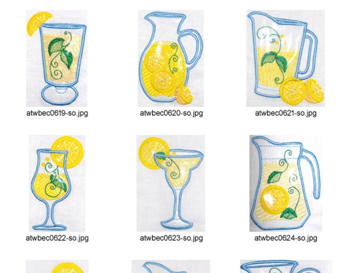 Lemonade-Applique. ( 10 Machine Embroidery Designs from ATW )