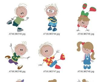 Sticky-Little-Kids ( 10 Machine Embroidery Designs from ATW ) XYZ17B