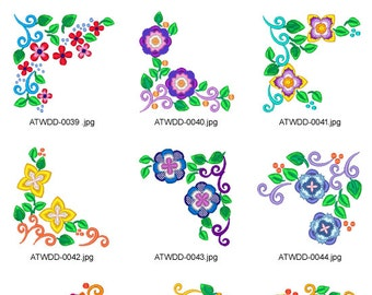 Floral-Corners( 10 Machine Embroidery Designs from ATW )