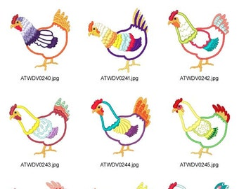 Applique-Eccentric-Hens ( 10 Machine Embroidery Designs from ATW ) XYZ17B