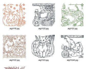 Halloween-Redwork  ( 7 Machine Embroidery Designs from ATW ) XYZ17B
