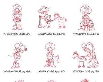 Swirly-Cowboys-Redwork ( 10 Machine Embroidery Designs from ATW ) XYZ17C