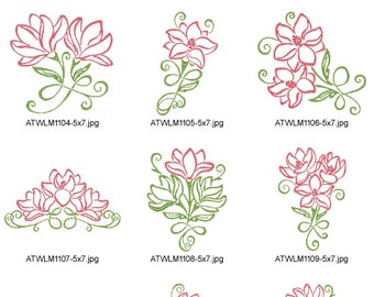 Art-Deco-Magnolias-5x7. ( 10 Machine Embroidery Designs from ATW )
