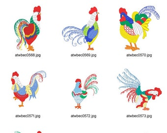 Curly-Roosters ( 10 Machine Embroidery Designs from ATW )