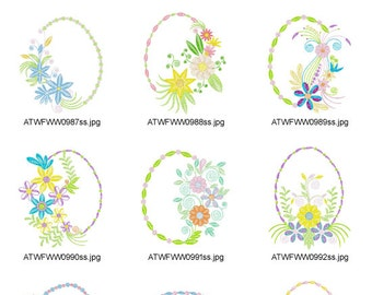 Oval-Floral ( 12 Machine Embroidery Designs from ATW )