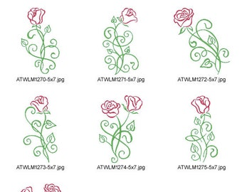 Art Deco Roses-5x7 ( 10 Machine Embroidery Designs from ATW )