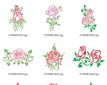 Outline-Roses ( 10 Machine Embroidery Designs from ATW )