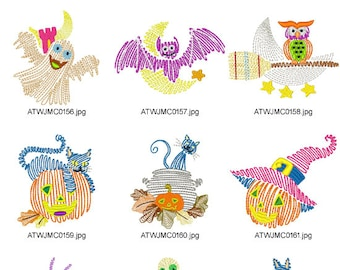 Halloween-Line-Designs. ( 10 Machine Embroidery Designs from ATW ) XYZ17B