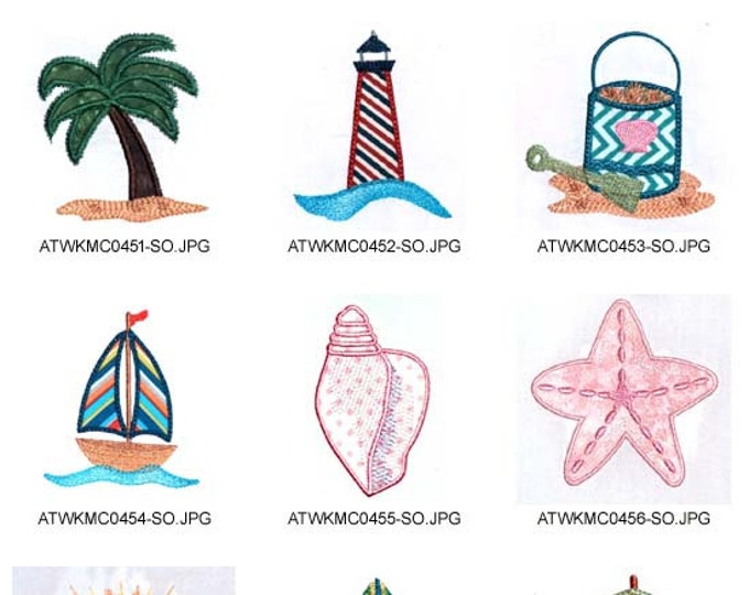Beach Applique 4x4 AND 5x7 ( 10 Machine Embroidery Designs from ATW ) XYZ17B