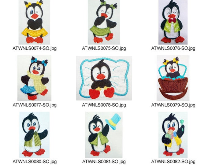 Penguins-Applique. ( 10 Machine Embroidery Designs from ATW )