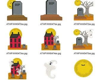 Prim-Halloween  ( 13 Machine Embroidery Designs from ATW ) XYZ17B
