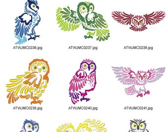 Beautiful-Outline-Owls ( 10 Machine Embroidery Designs from ATW )