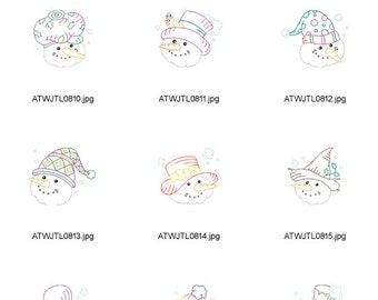 Multiline-Snowmen. ( 10 Machine Embroidery Designs from ATW )