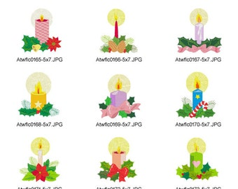 Jacobean-Christmas-Candles ( 10 Machine Embroidery Designs from ATW )