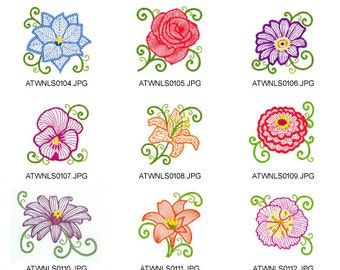 Flowers-New-Style. ( 10 Machine Embroidery Designs from ATW )