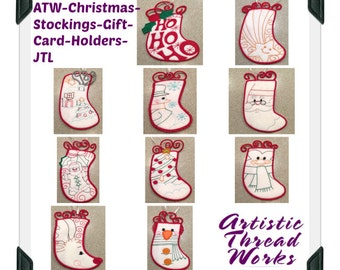 ATW-Christmas-Stockings-Gift-Card-Holders ( 10 Machine Embroidery Designs from ATW )