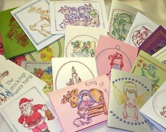 Embroidered Christmas Card Designs *  ( 34 Machine Embroidery Designs from ATW )