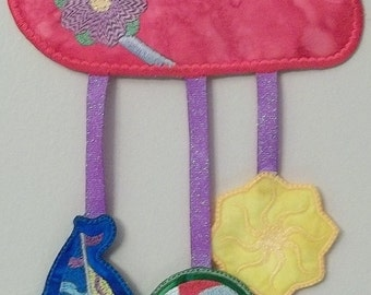 """FSA Seasonal Mobile Summer Project  ( 5 """"Free Standing Applique"""" Machine Embroidery Designs to make project from ATW )"""