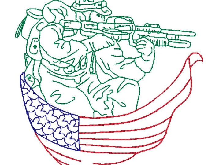 American Soldiers 5x7 DD   ( 10 Machine Embroidery Designs from ATW )