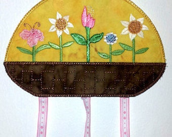 """FSA Seasonal Mobile Spring Project   ( 5 """"Free Standing Applique"""" Machine Embroidery Designs to make project from ATW )"""