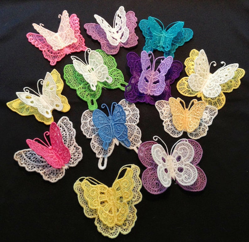 3D FSL Butterflies   12 Machine Embroidery Designs from ATW  image 0