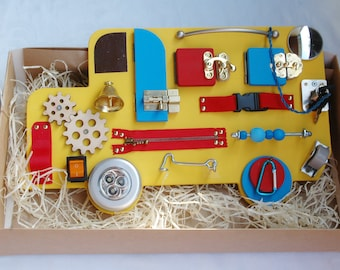 Wooden toy BUSY BOARD Children 1st Birthday gift Sensory toy Wood Fine Motor Natural Learning Activity Board Special Needs Travel busy board