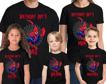 Spider Man Birthday Shirt Add Name Age Spiderman Custom Party TShirt 01