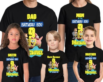 793e637f4 Spongebob Birthday Shirt Add Name & Age Spongebob Custom Birthday Party T- Shirt