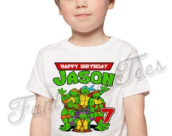 Teenage Mutant Ninja Turtles Birthday Shirt Add Name Age TMNT Custom Party TShirt 01