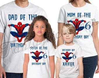 Spider-man Birthday Shirt Add Name & Age Spiderman Custom Birthday Party TShirt 02