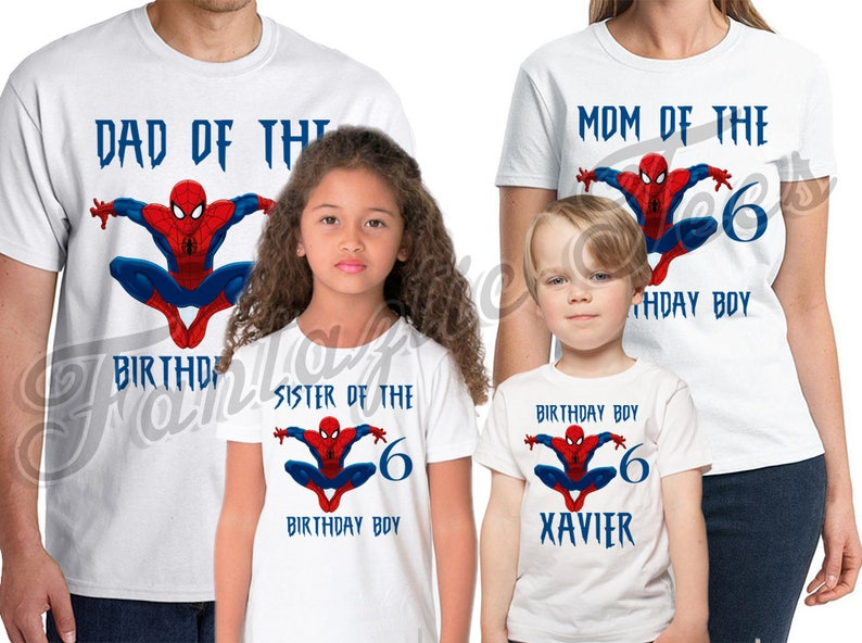 14a01b052 Spider-man Birthday Shirt Add Name & Age Spiderman Custom | Etsy